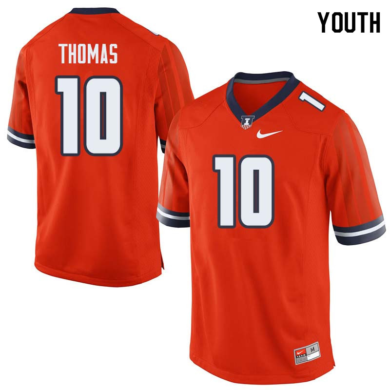 Youth #10 Cam Thomas Illinois Fighting Illini College Football Jerseys Sale-Orange
