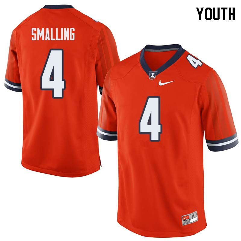 Youth #4 Ricky Smalling Illinois Fighting Illini College Football Jerseys Sale-Orange