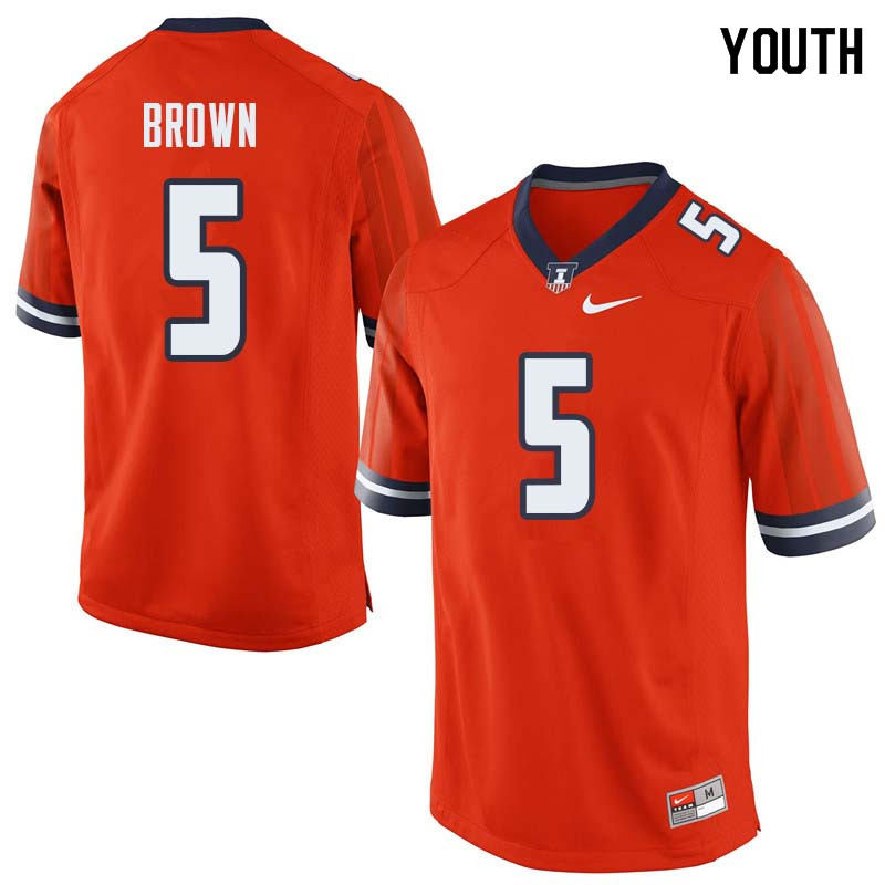 Youth #5 Verdis Brown Illinois Fighting Illini College Football Jerseys Sale-Orange